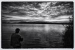 Pescando en el lago.