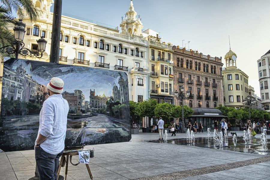 El artista en la plaza de las tendillas (Córdoba )