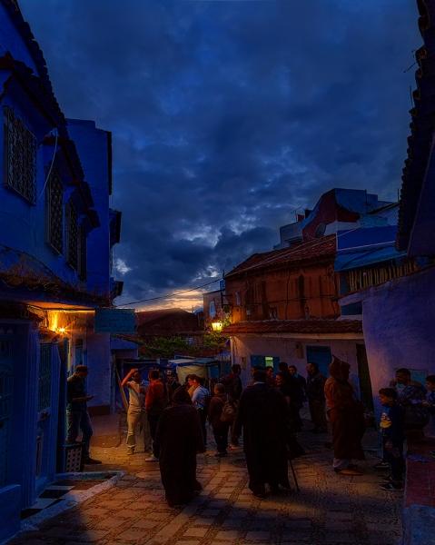 Hora azul en Chaouen, Marruecos